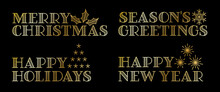 "Set Of Holiday Greetings Banners. The Text Says ""Merry Christmas"", ""Season's Greetings"", ""Happy Holidays"", And ""Happy New Year""."