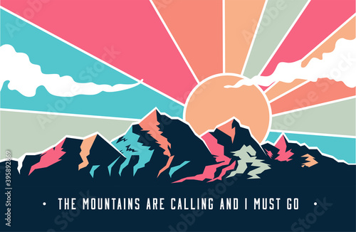 Vintage styled mountains landscape with mountains peaks and retro colored sky with clouds Fototapeta