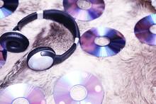 Black Audio Headphones On A Pi...