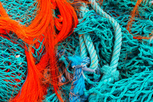 Turquoise Blue And Orange Fishing Net