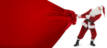Santa Claus Pulling Enormous Red Bag Full Of Christmas Gifts On White Background. Banner Design