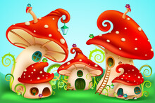 Fairy Tale Mushrooms Group With White Spots . Fairy Houses Red Amanita With Owls And Lanterns. Vector Illustration.