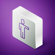 Isometric line Head hunting icon isolated on purple background. Business target or Employment sign. Human resource and recruitment for business. Silver square button. Vector.
