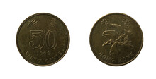 1998 50 Cents Of Hong Kong Dollars Coin Obverse And Reverse.
