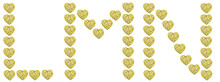 Letters L M N Made Of Gold Hearts Isolated On A White Background. Beautiful Font For Holiday Invitations, Wedding Invitations, Greeting Cards And Headlines.