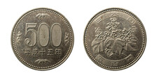 Japan 500 Yen Coin Macro Isolated Shot Obverse And Reverse. Coined In Heisei 15 Or 2003.