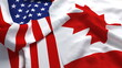 USA America Canada Flag Country Closeup 3D Rendering with fabric silk cotton polyester texture for background banner