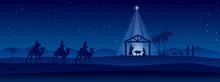 Blue Christmas Nativity Scene Banner Background. Vector Illustration.