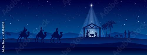 Obraz Blue Christmas Nativity scene banner background. Vector illustration. - fototapety do salonu