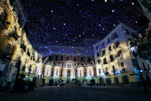 Artist Lights In An Empty City. Christmas In A Deserted City. Salerno Italy
