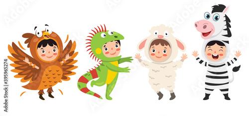 Fototapeta premium Funny Children Waering Animal Costumes