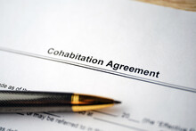 Legal Document Cohabitation Agreement On Paper With Pen