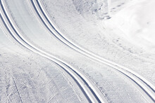 Beautiful Cross Country Ski Tracks In The Snow During Wintertime In The Alps (Filzmoos, Salzburg County, Austria)