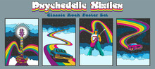 1960s Rock Music Posters, Album Covers Stylization, Guitarist, Muscle Car, Guitar, Rainbows And Skies