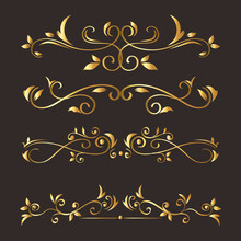 Gold Ornament Icon Set On Gray Background Design Of Decorative Element Theme Vector Illustration