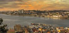 Panoramic View Over Porto At Daybreak.