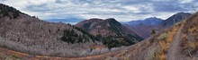 Slide Canyon Views From Hiking Trail Fall Leaves Mountain Landscape, Y Trail, Provo Peak, Slate Canyon, Rock Canyon, Wasatch Rocky Mountain Range, Utah, United States.
