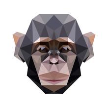 Monkey Head Low Poly Geometric Polygonal Triangle Logo Icon Symbol Design Template