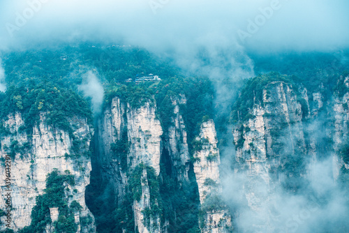 Mountains and forests shimmering in the mist at Wulingyuan , Zhangjiajie nationa Canvas Print