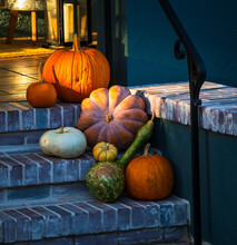 House Entrance Decorate With Pumpkins For Halloween