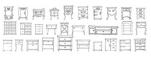 Large Set Of Elegant Antique And Modern Furniture. Sketch Style.  Isolated On A White Background. Vector Collection Of Retro-vintage And Modern Dressers And Bedside Tables For Home, Bedroom.