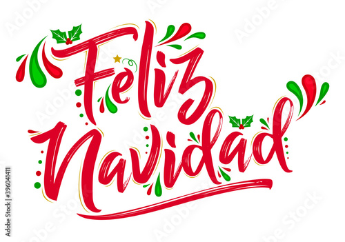 Fototapeta Feliz Navidad, Merry Christmas spanish text holiday design.