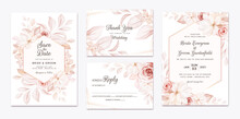 Floral Wedding Invitation Template Set With Brown Roses Flowers And Leaves Decoration. Botanic Card Design Concept