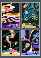 Psychedelic Space Posters, Abstract Universe, Worlds And Planets, Geometric Shapes
