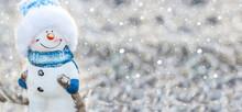 Christmas Snowman On A Backgro...
