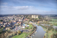 Arundel Viewed From The Air With The Castle And Cathedral Being The Main Tourist Attraction.