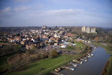 Aerial Photo Over The Historic Town Of Arundel In West Sussex.