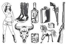 Isolated Illustrations Set - Cowgirl, Cowboy Boots And Hat, Skull, Whiskey ,bottle, Glass, Ice, Horse, Guns.