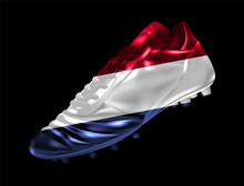 Soccer Football Boot With The Flag Of The Netherlands Printed On It, Isolated On Dark Background, Vector Illustration 3d, 3 Dimension, Print, Design