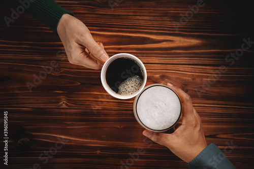 Vászonkép Different Personalities Taste in Beverage of People Concept, Two Friends holding