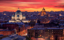 Aerial Night View Of Saint Petersburg City With Beautiful Red Sunset
