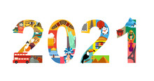 2021 New Year Travel Illustration. Travel Planning Poster