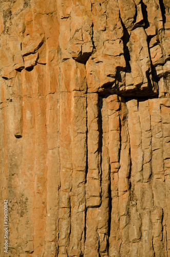 Fotografering Basaltic colonnades in a cliff