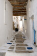 A street in the old town of Chora, the capital of Ios Island. Traditional Cycladic architecture. Greece
