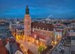 Wroclaw, Poland. Aerial view of St Elizabeth church at dusk