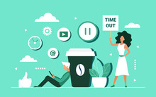 Coffee Break Concept Vector Illustration. Cartoon Tiny Woman Character Holding Warning Sign With Time Out Text, Man Sitting Near Big Coffee Cup, Using Social Media For Break From Work Background