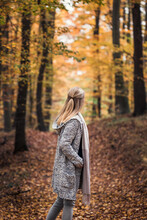 Woman Wearing Knitted Wool Sweater In Autumn Forest. Outdoor Fashion Portrait. Vibrant Colors In Fall Nature