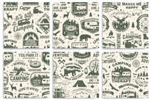 Set Of Summer Camp Seamless Pattern, Background. Vector. Retro Typography Design With Rv Trailer, Tent, Mountain, Campfire, Hiker And Forest Silhouette. For Camping And Hiking Organizations