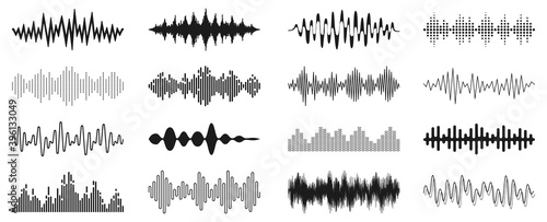 Set sound waves sign, musical sound wave collection icon, digital and analog line waveforms, electronic signal, voice recording, equalizer - stock vector