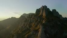 Camera Dolly Out Across Mountain Peaks Over Ciucas Peak, Romania
