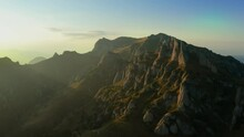 Drone View Over Ciucas Peak At Sunset, Beautiful Mountain Scenery In Romania