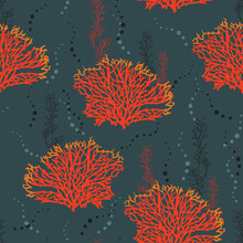 Seamless Hand Drawn Pattern With Coral Reef In The Ocean .Design For Fashion , Fabric, Textile, Wallpaper, Cover, Web , Wrapping And All Prints,Vector Illustration