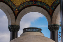 Historical German Fountain In Istanbul Sultanahmet Square, A Green Domed Fountain