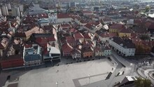 Aerial / Drone Footage Of The Dunakapu Square In Downtown Győr, Capital Of Győr-Moson-Sopron County, Western Transdanubia Region In Norhwestern Hungary