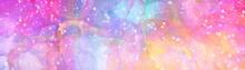 Sfondo Banner Colori Pastelli Rosa Giallo. Web Banner Astratto Con Texture Acquerello. Stelle