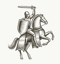 Knight On Horseback. Medieval Heraldry Symbol Vector Illustration